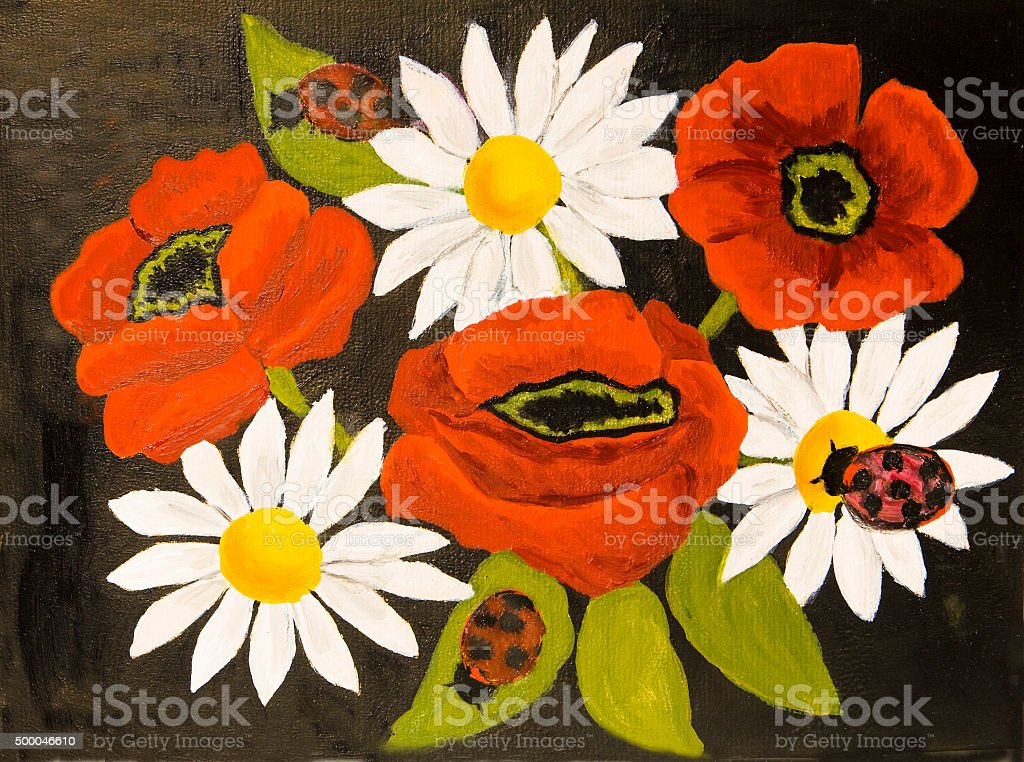 Poppies and camomiles, oil painting vector art illustration