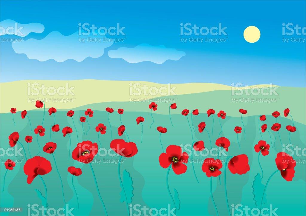 Poppies Blooming vector art illustration