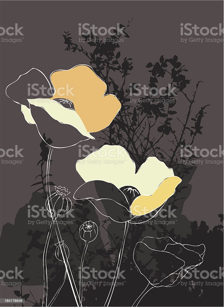 Poppies on Brown Weeds royalty-free stock vector art