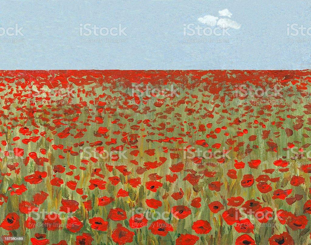 Poppy Field in a Sunny Day royalty-free stock vector art