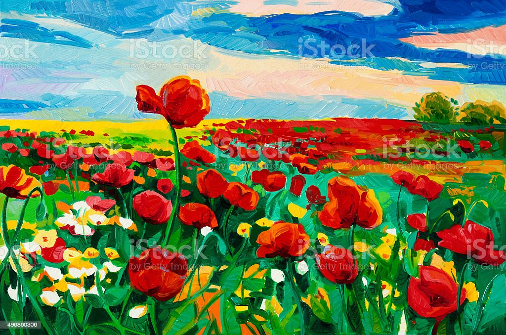 Poppy fields vector art illustration
