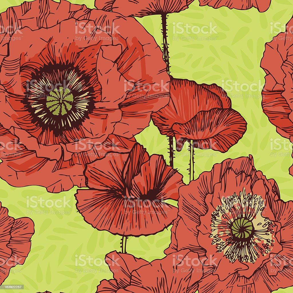 Poppy pattern seamlessly royalty-free stock vector art
