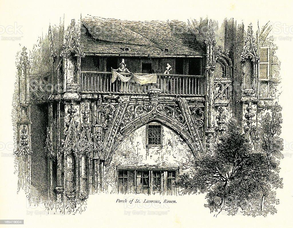 Porch of St. Laurens Church, Rouen, France vector art illustration