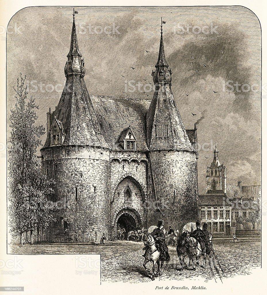 Port de Bruxelles, Mechelen, Belgium (antique wood engraving) royalty-free stock vector art