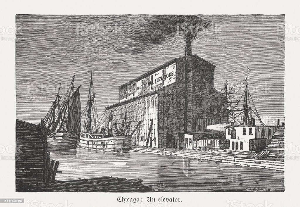 Port of Chicago, USA, wood engraving, published in 1880 vector art illustration