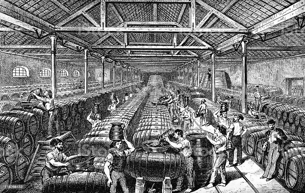 Port Wine Warehouse in Victorian Portugal vector art illustration