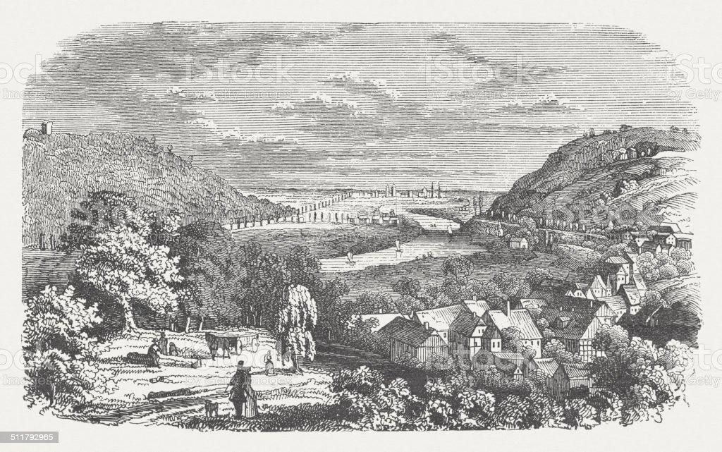 Porta Westfalica, Wesergebirge, Germany, wood engraving, published in 1864 vector art illustration