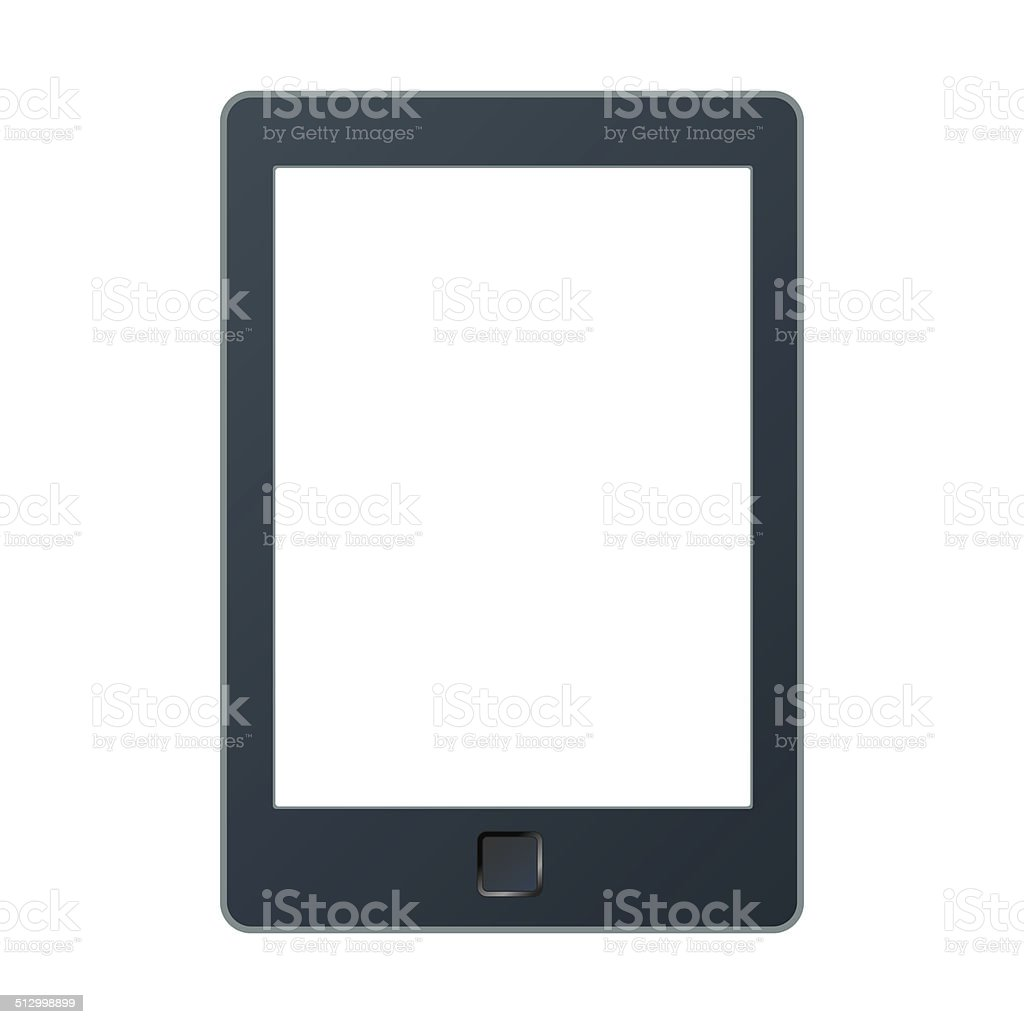 Portable e-book reader with clipping path for book and screen. vector art illustration