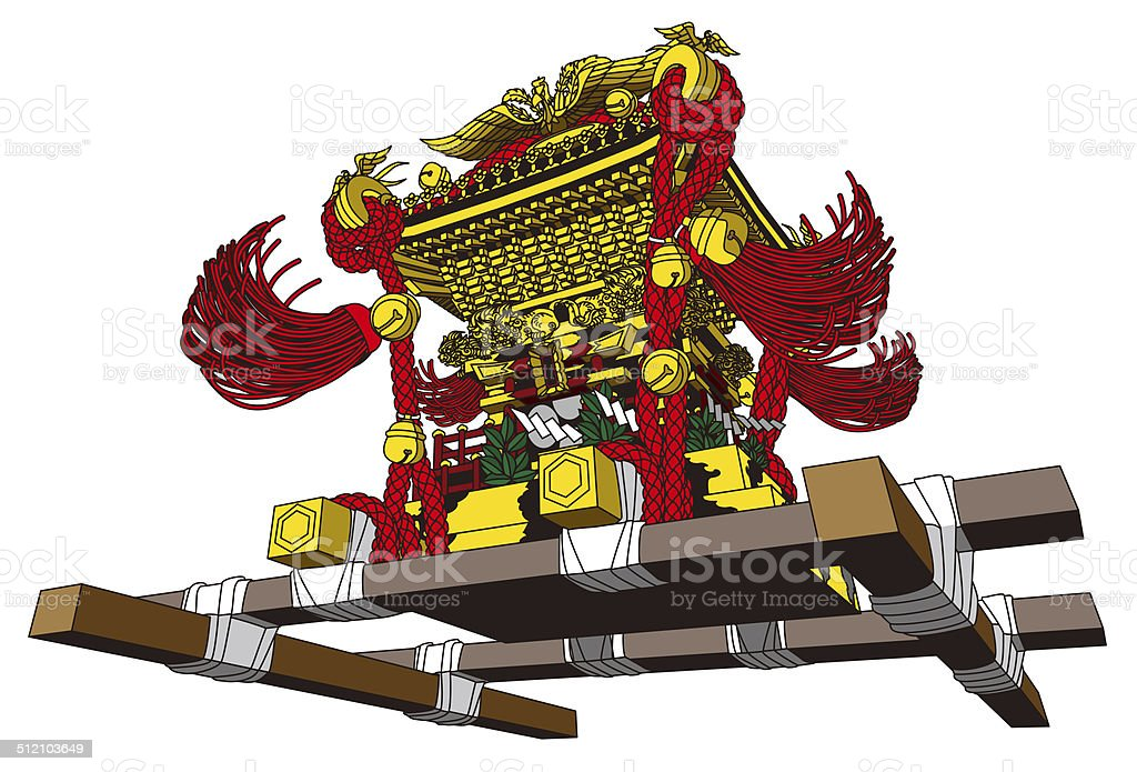 Portable shrine. Japan. Festival. Traditional event vector art illustration