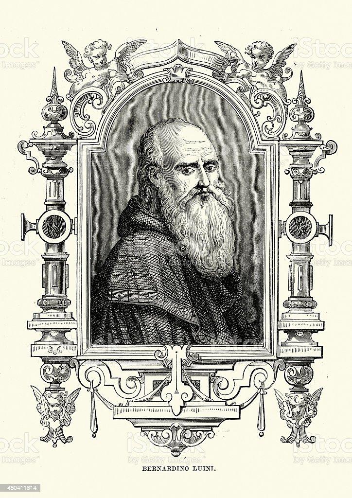 Portait of Bernardino Luini vector art illustration