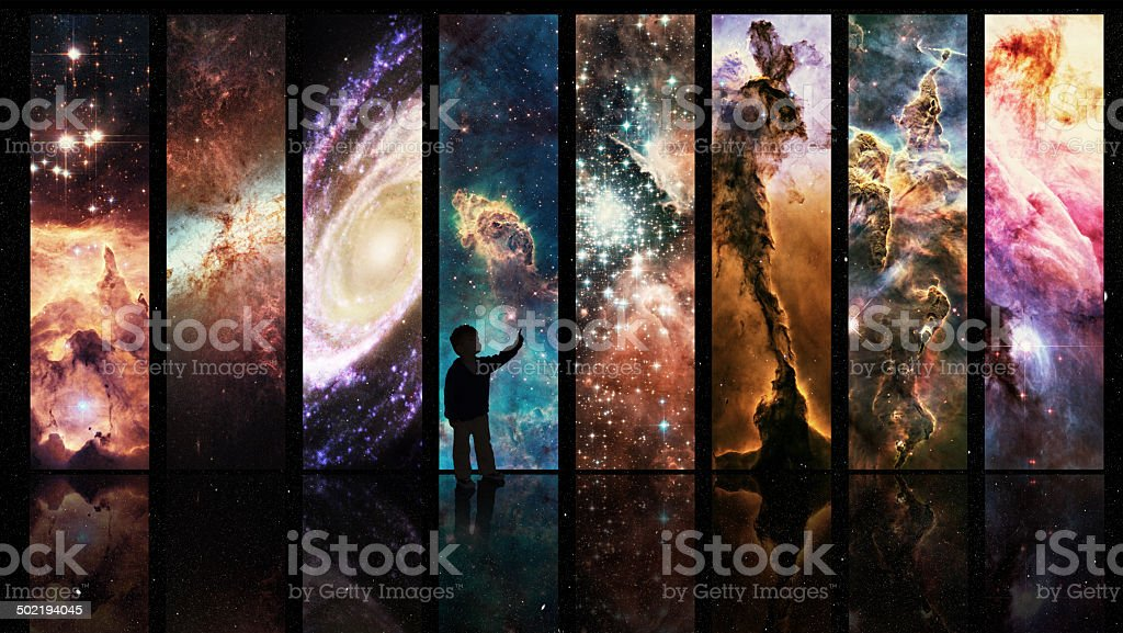 Portals to galactic wonder vector art illustration
