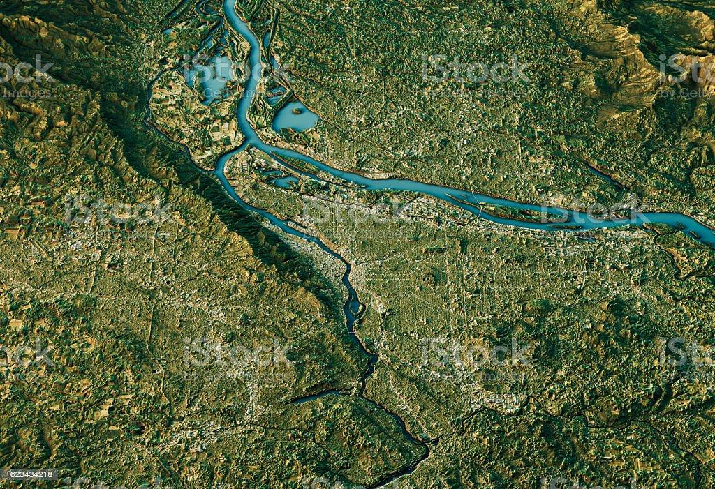 Portland 3D Landscape View South-North Natural Color vector art illustration