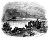 Portland from Sandsfoot Castle (Engraved illustration)