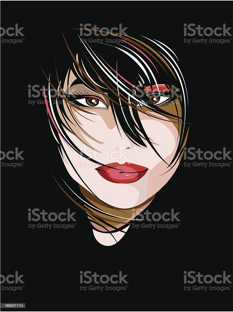Portrait of a beautiful brunette royalty-free stock vector art