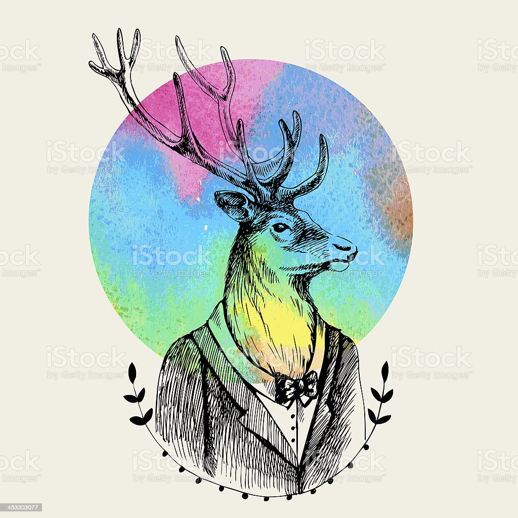 Portrait of a deer in  tuxedo and watercolor round. royalty-free stock vector art