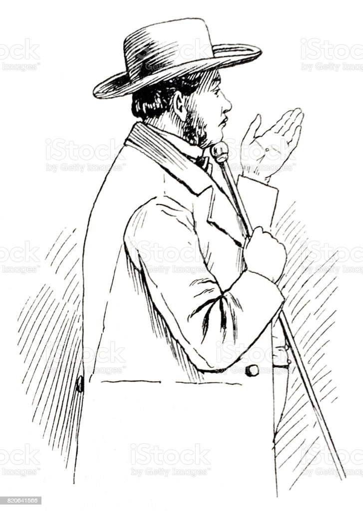 Portrait of a man with pole, gesturing with hand, side view, on white vector art illustration