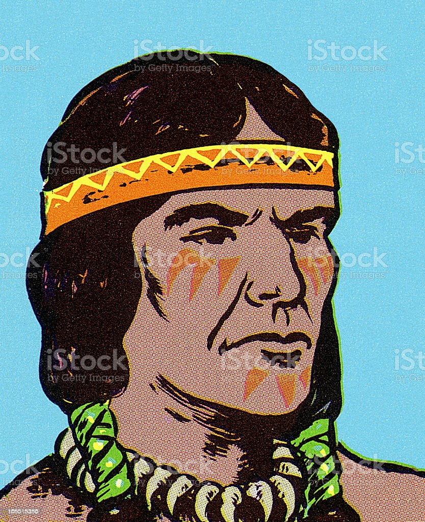 Portrait of a Native Warrior royalty-free stock vector art