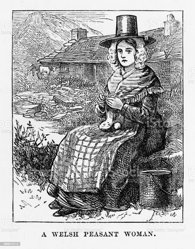 Portrait of a Welsh Peasant Woman Victorian Engraving, Circa 1840 vector art illustration