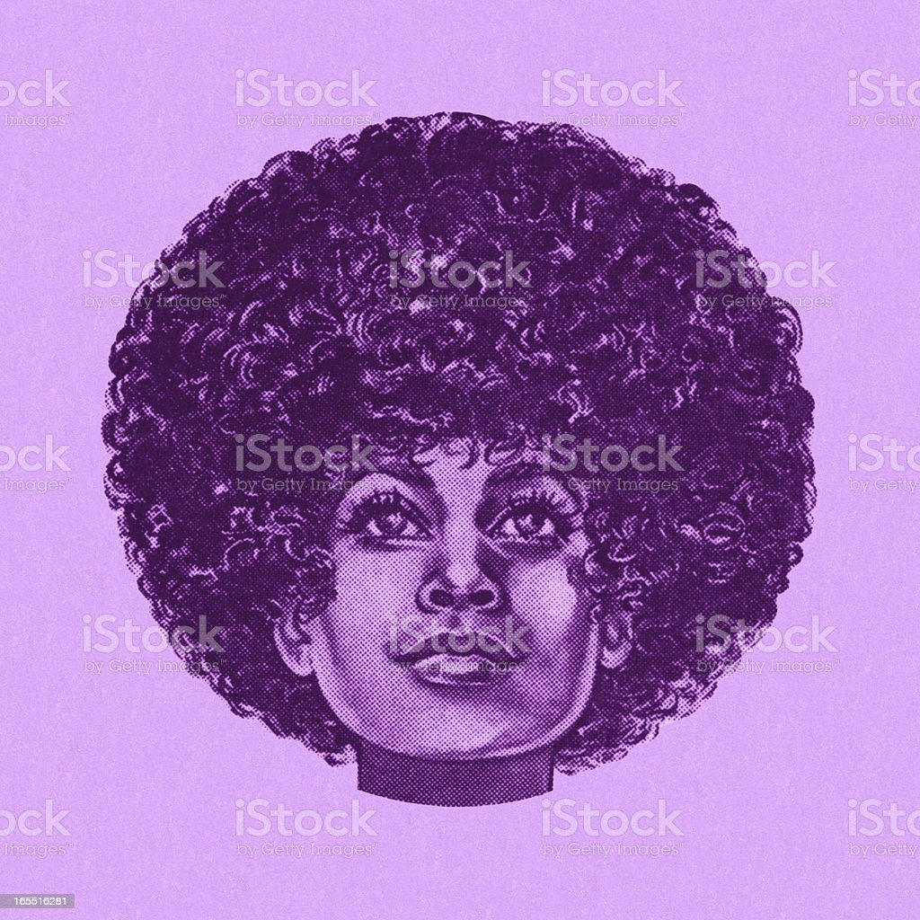 Portrait of a Woman with an Afro vector art illustration