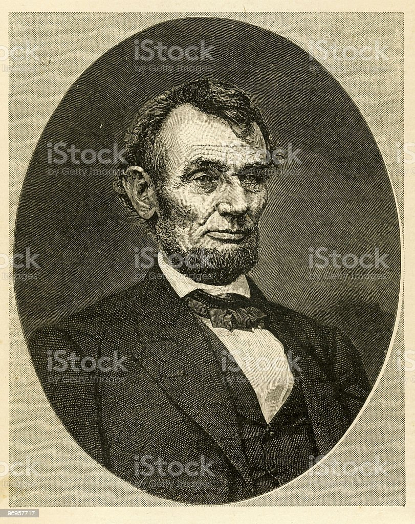 Portrait of Abraham Lincoln, 1865 vector art illustration