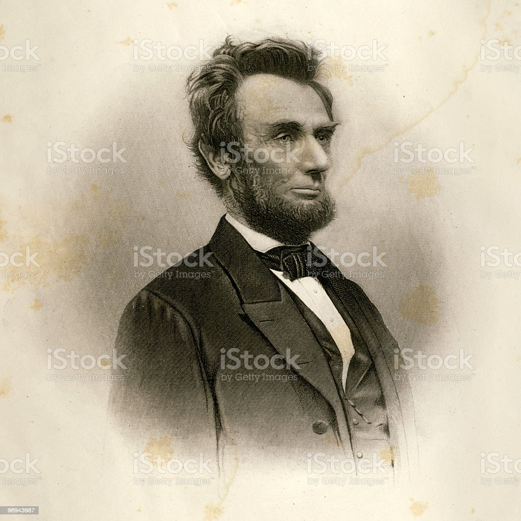Portrait of Abraham Lincoln in 1865 royalty-free stock vector art