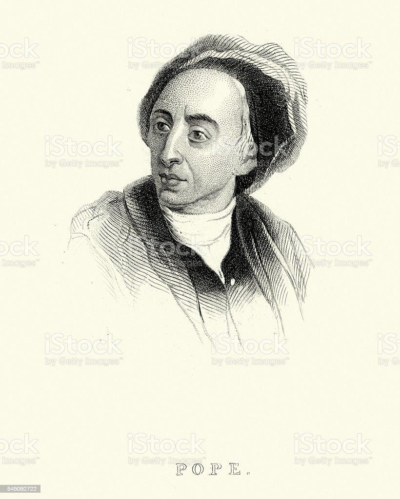 Portrait of Alexander Pope vector art illustration