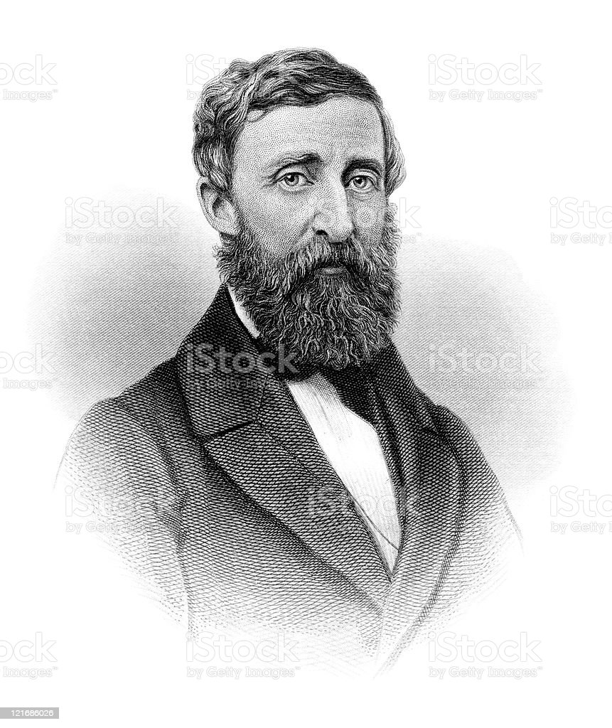 Portrait of American Author, Poet, and Naturalist Henry David Thoreau royalty-free stock vector art