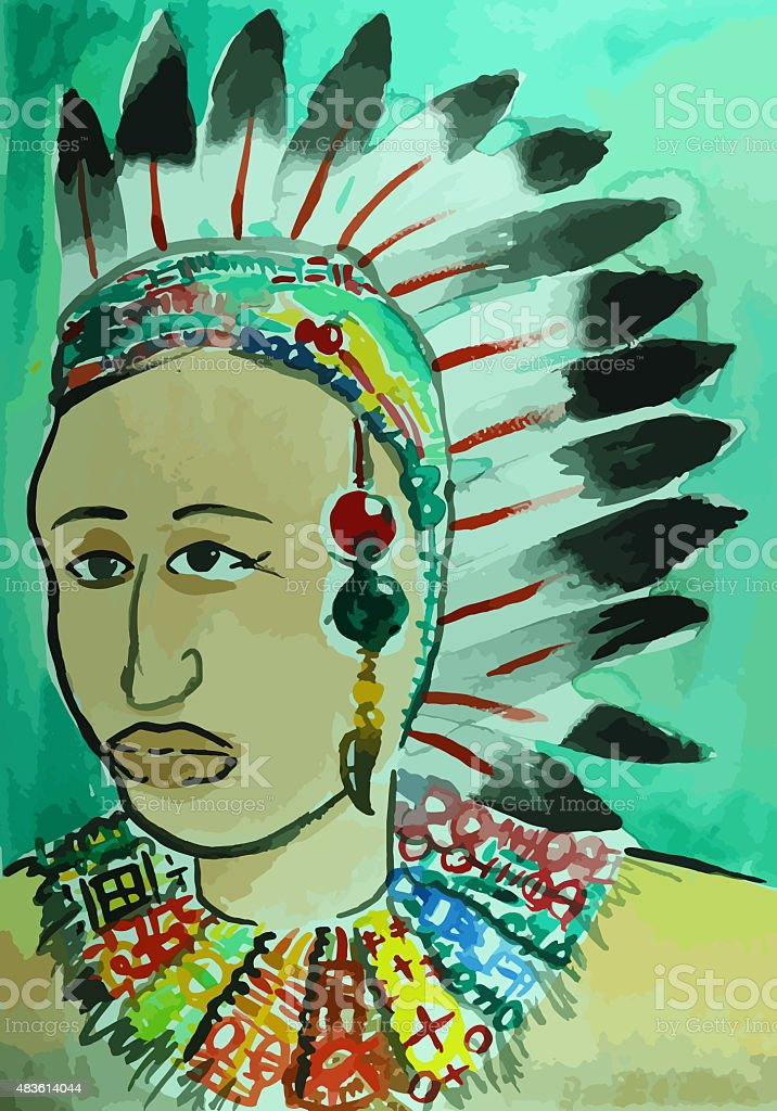 portrait of american indian head painting vector art illustration