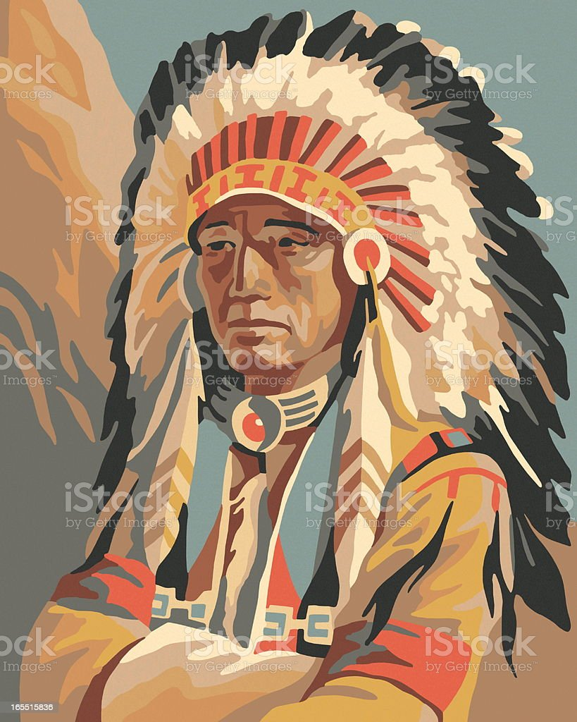 Portrait of an Indian Chief royalty-free stock vector art