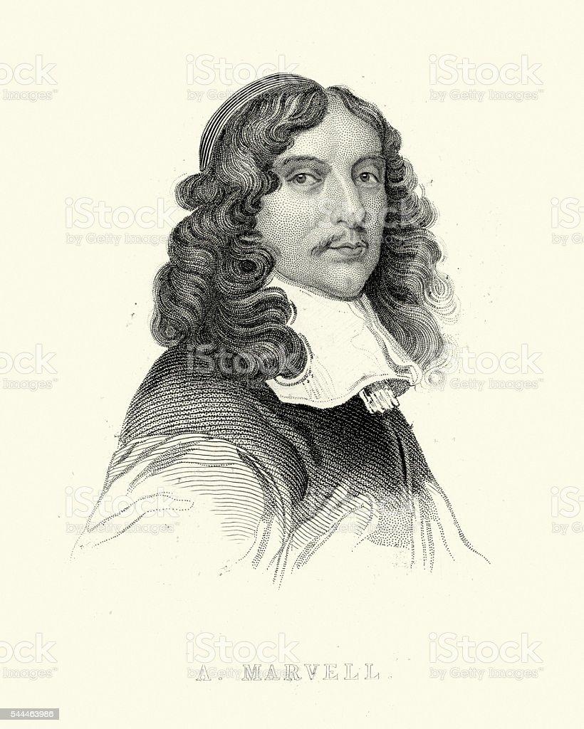 Portrait of Andrew Marvell vector art illustration