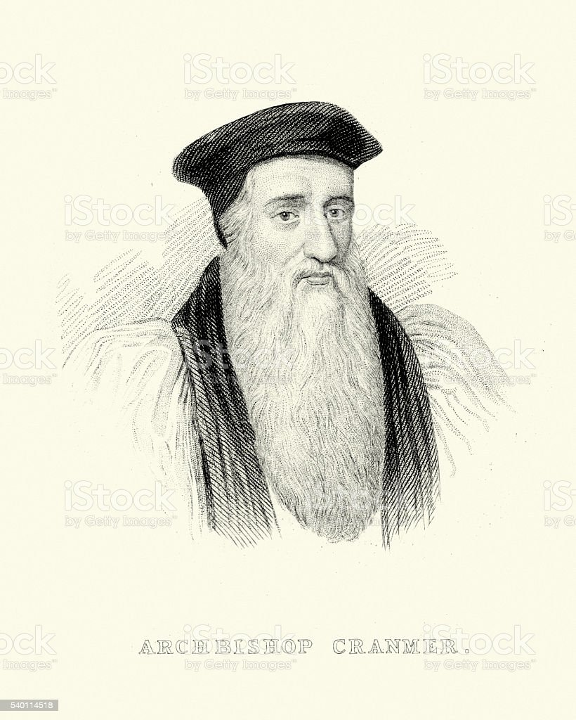 Portrait of Archbishop Thomas Cranmer vector art illustration