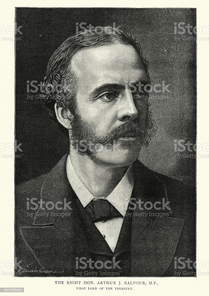 Portrait of Arthur J Balfour, MP vector art illustration