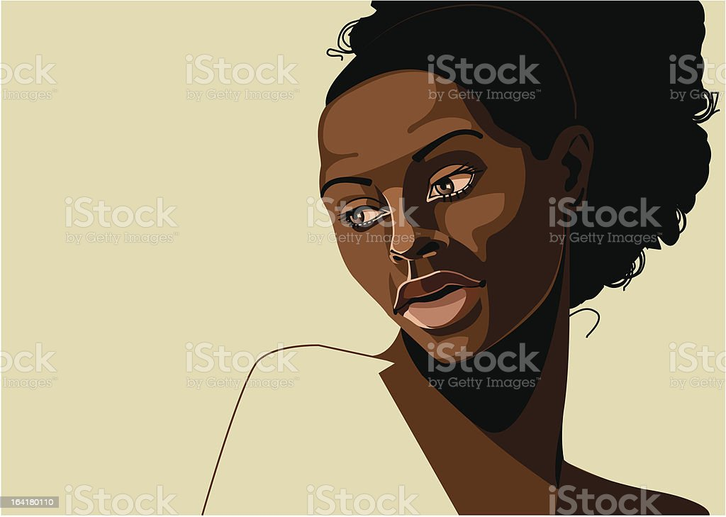 portrait of beautiful young black woman vector art illustration