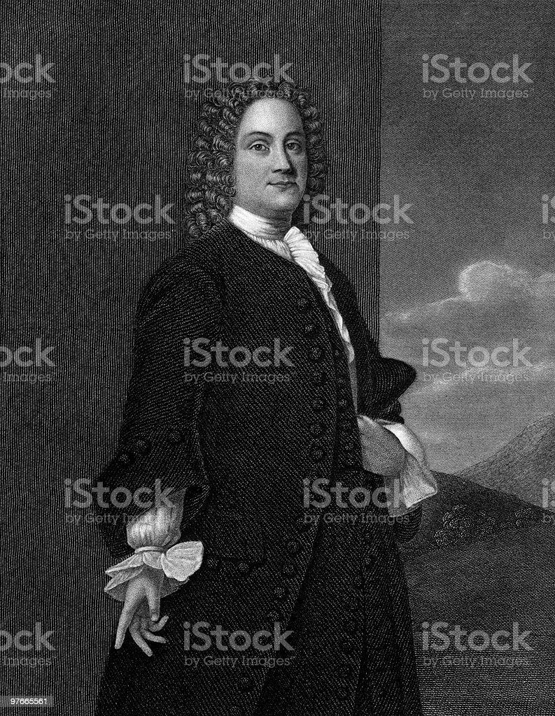 Portrait of Benjamin Franklin royalty-free stock vector art