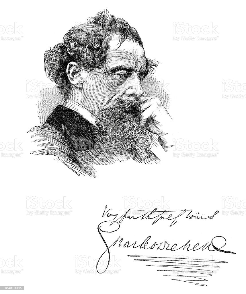 Portrait of Charles Dickens royalty-free stock vector art