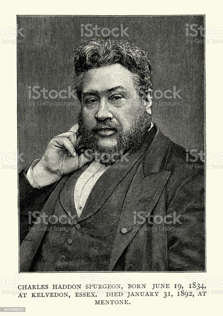 Portrait of Charles Haddon Spurgeon vector art illustration