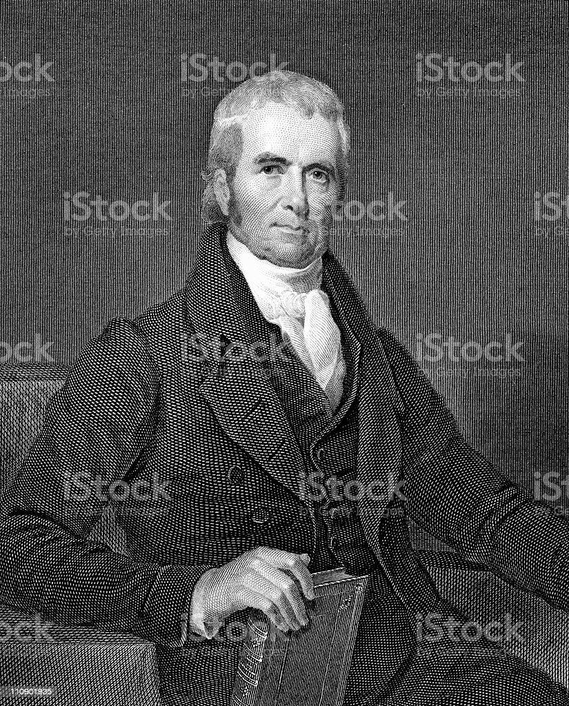 Portrait of Chief Justice John Marshall vector art illustration