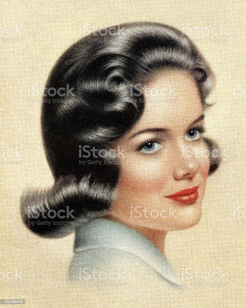 Portrait of Dark Haired Woman royalty-free stock vector art