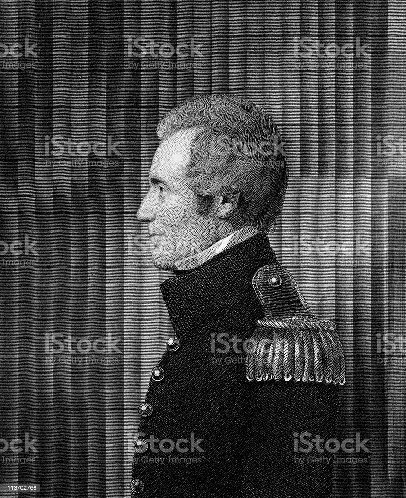 Portrait of Edmund Pendleton Gaines royalty-free stock vector art