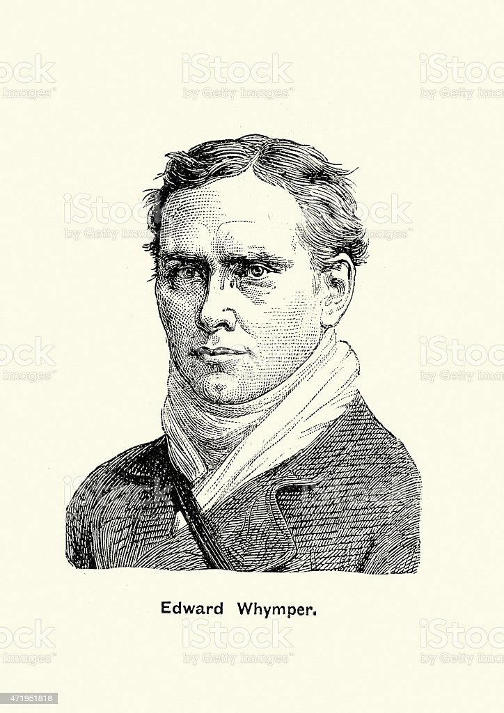 Portrait of Edward Whymper the mountaineer and explorer vector art illustration