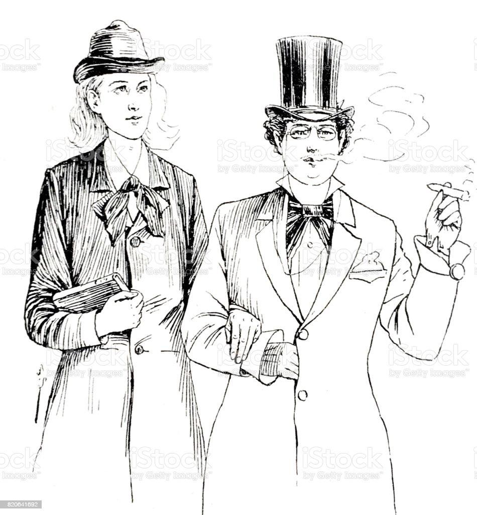 Portrait of elegant couple, waist up, man smoking vector art illustration