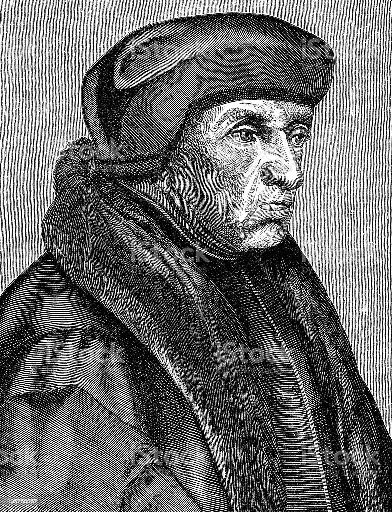 Portrait of Erasmus royalty-free stock vector art