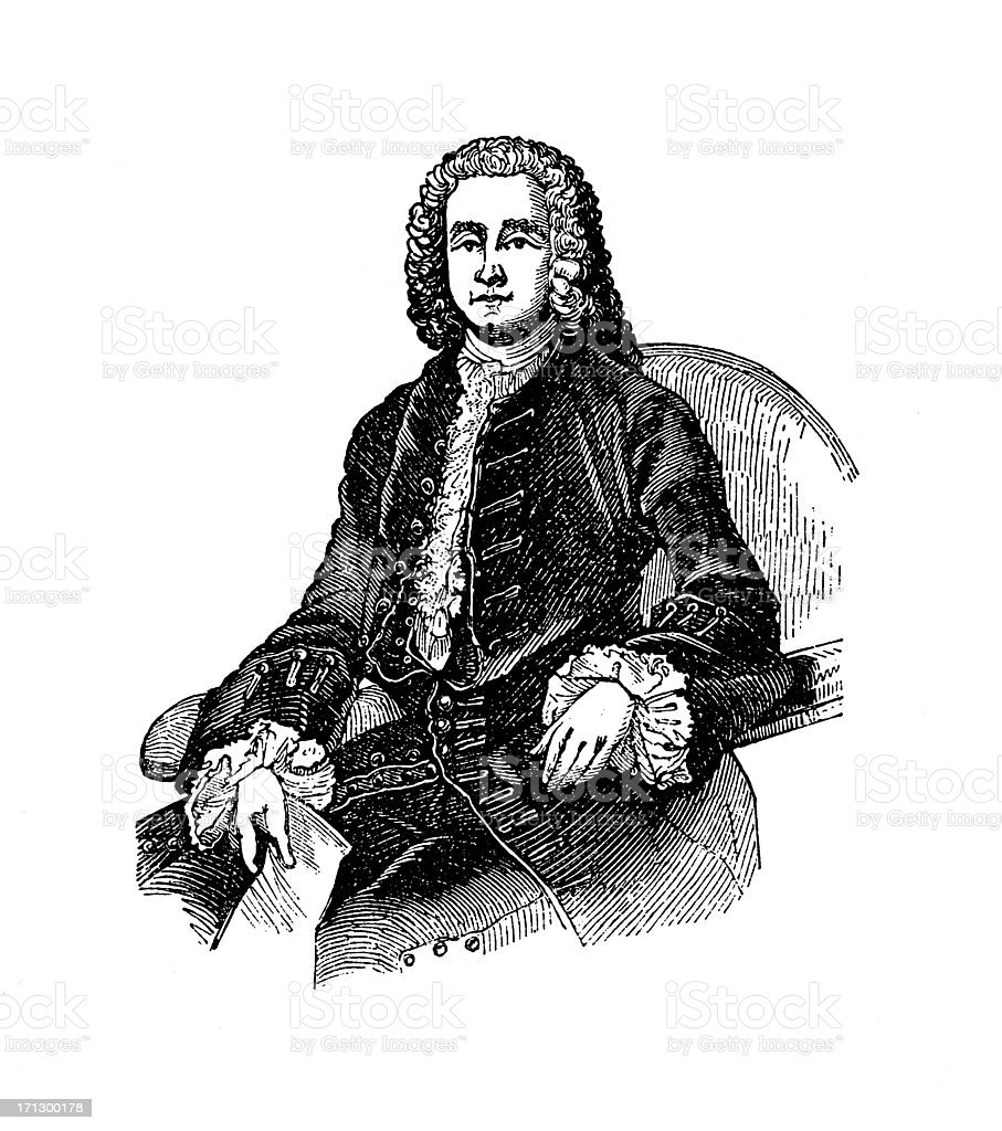 Portrait of George Grenville | Historic American Illustrations royalty-free stock vector art