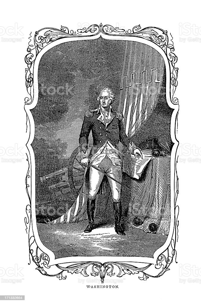 Portrait of George Washington, First US President |Historic American Illustrations vector art illustration