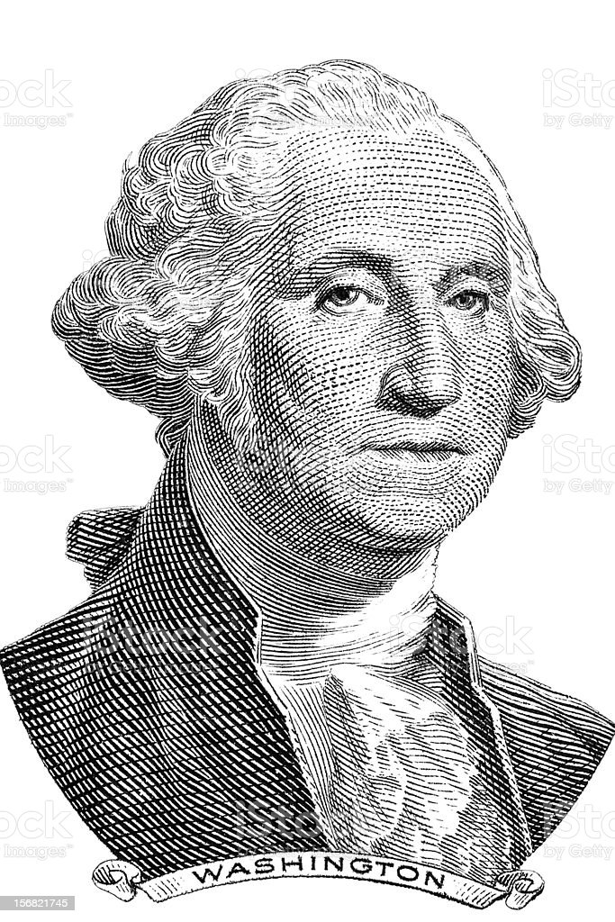 A portrait of George Washington in black and white royalty-free stock vector art