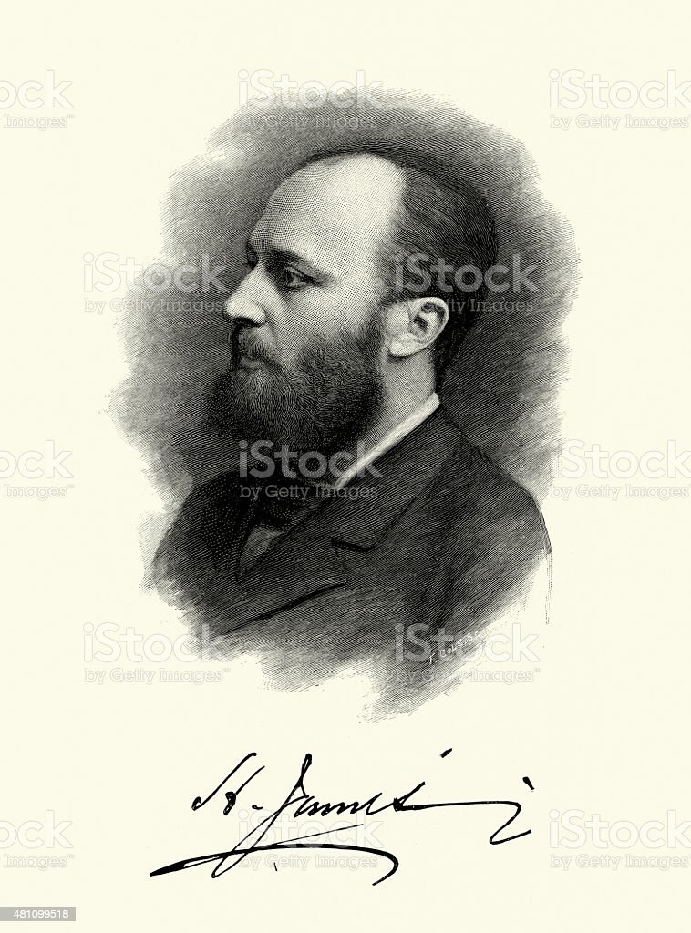 Portrait of Henry James vector art illustration