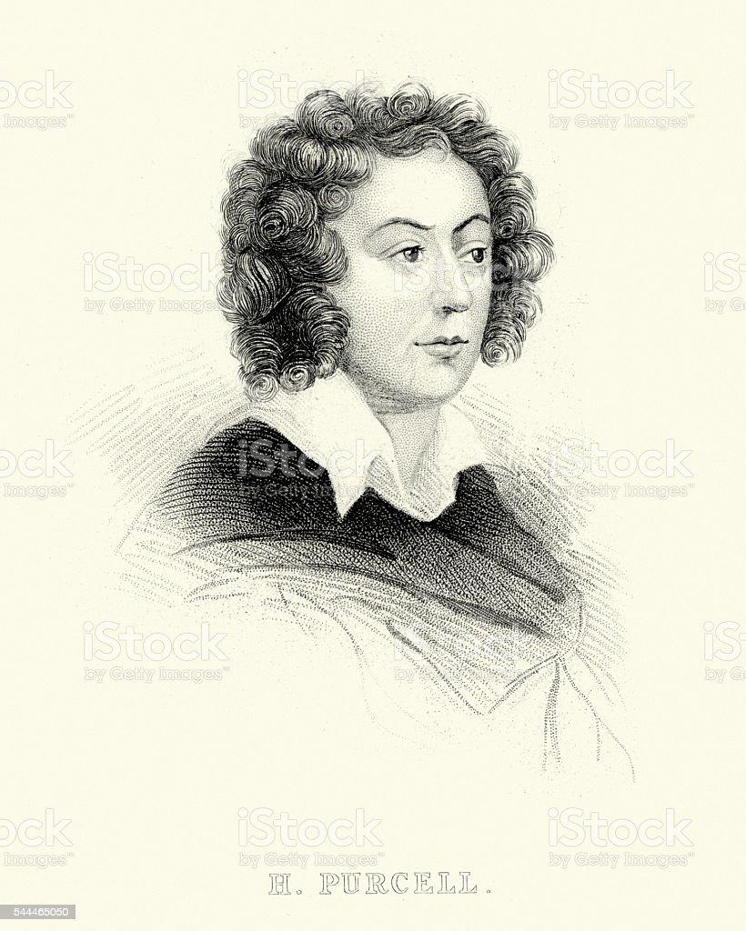 Portrait of Henry Purcell vector art illustration