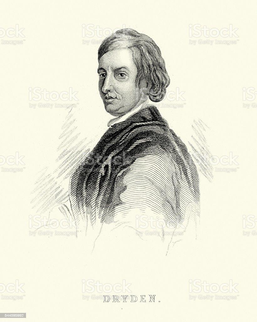 Portrait of John Dryden vector art illustration