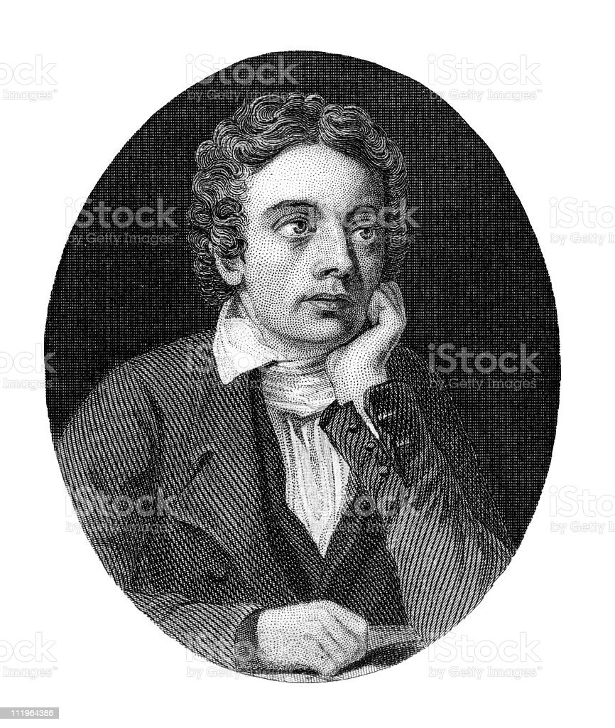 Portrait of John Keats, Poet royalty-free stock vector art