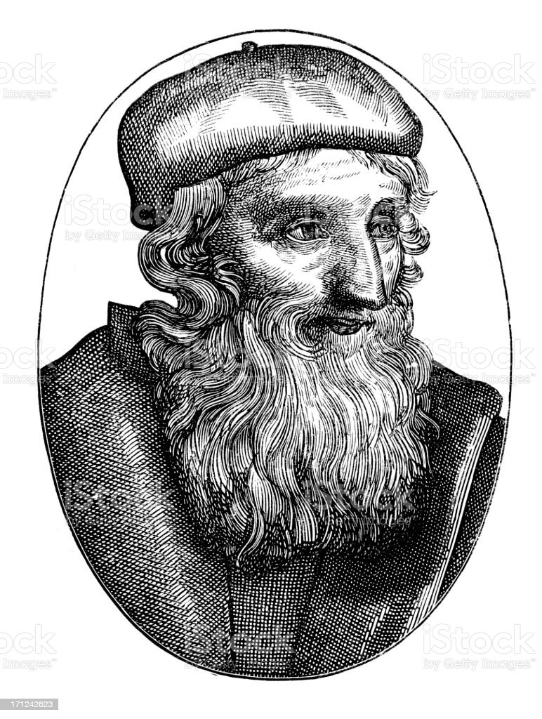 Portrait of John Wycliffe vector art illustration